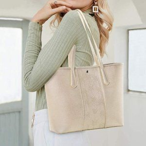 NEW ESKY Leather Women Shoulder Tote, Gold